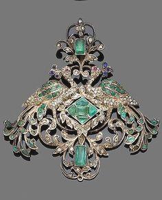 A mid-19th century emerald, sapphire, ruby and diamond pendant