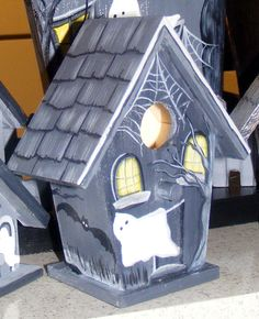 Hand Painted Halloween Haunted Bird House by artbychris on Etsy, $17.50