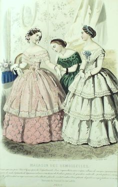 GRAVURE de MODE AUTHENTIQUE-M142-MAGASIN DEMOISELLES-ROBES DE BAL-1854