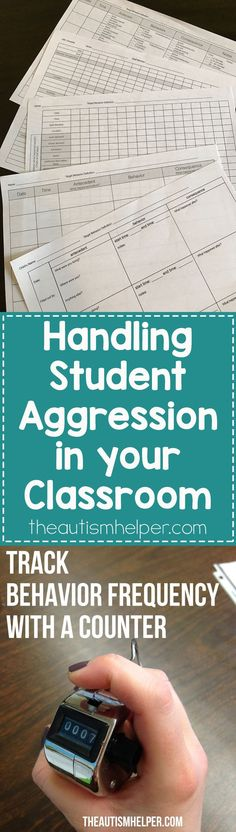 Decreasing student aggression needs immediate attention, so I'm sharing my steps to help you determine appropriate interventions on the blog! From theautismhelper.com #theautismhelper