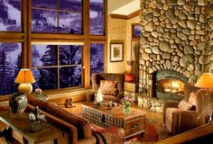 Loved the fireplace! Rustic Interior Designer - Western Interior Design