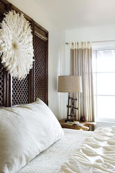 headdress above bed is gorgeous