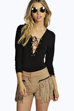 Rosie Eyelet Lace Up Long Sleeve Body at boohoo.com