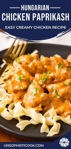 Quick and easy Hungarian chicken paprikash recipe (AKA Chicken Paprikas or Csirkepaprikás), a simple spicy & creamy chicken recipe served over egg noodles! Grilled Chicken Recipes, Baked Chicken Recipes, Turkey Recipes, Dinner Recipes, Side Recipes, Yummy Recipes, Dinner Ideas, Breakfast Recipes, Pasta Dishes
