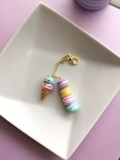 Cute yummy kawaii charms perfect for planners, bags, keys, and phones! ********  Each charm comes attached with a gold colored chain linked