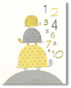 Kids wall art yellow and gray  baby nursery decor  by GalerieAnais, $14.00
