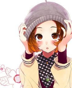 ✮ ANIME ART ✮ pretty girl. . .big eyes. . .blushing. . .hat. . .short hair. . .sweater. . .flowers. . .shy. . .moe. . .cute. . .kawaii