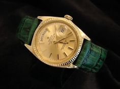 Mens Rolex Day-date President 18k Yellow Gold Green Leather Wgold Dial 1803. Get the lowest price on Mens Rolex Day-date President 18k Yellow Gold Green Leather Wgold Dial 1803 and other fabulous designer clothing and accessories! Shop Tradesy now