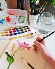 Lily flower watercolor illustration by Studio Sonate Flower Watercolor, Watercolor Illustration, Lily, Studio, Prints, Design, Floral Watercolor, Orchids