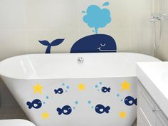 Cool wall decal ideas for kids' rooms (Photo courtesy of Dali Wall Decals) Whale Bathroom, Bathroom Decals, Baby Bathroom, Diy Wall Stickers, Kids Wall Decals, Removable Wall Decals, Upstairs Bathrooms, Room Pictures, Kids Bath