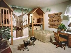 Great idea for a kids room, rope bridge connecting forts