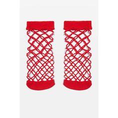 Topshop Oversized Fishnet Ankle Socks (19 PLN) ❤ liked on Polyvore featuring intimates, hosiery, socks, red, fishnet hosiery, topshop socks, fishnet socks, red ankle socks and tennis socks
