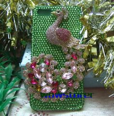 bling diamante Czech rhinestone pink peacock crystal iphone 3g 3gs 4 4s 5 5g green hard back case cover skin No.55