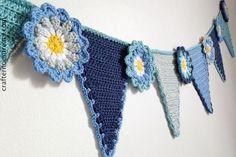 Crochet pennant flower bunting: patroon (Engels) en uitgebreide foto/video tutorial!