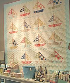 Avalon Sail Away (In-Port Version) finished quilt available for purchase at… Longarm Quilting, Free Motion Quilting, Machine Quilting, Nautical Quilt, Beach Quilt, Tree Quilt, Boy Quilts, Small Quilts, Quilt Blocks