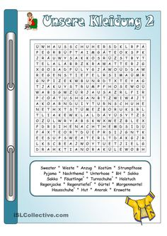Kleidung_2_Bilder & Wörter + Gitterrätsel  (korrigiert) Grid Puzzles, German Language Learning, Learn German, Homeschool, Religion, Social Media, Lettering, Teaching, Words