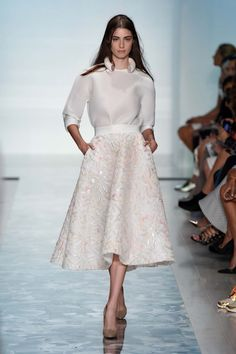 Toni Maticevski on trend with the mid length full skirt for his S/S 2014/15 collection