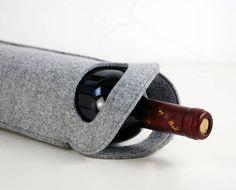 Christmas gift Felt Portable Handle Single Wine by Filzkraft, €12.00