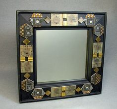 Recycled CIRCUIT BOARD Vintage Embellished Black Wall MIRROR!