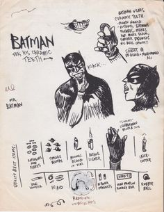 Strange Paul Pope Ephemera Just Found in a Box: While hanging with Paul in his studio before Batman Year 100 was released, he gave me this photocopied sheet of concept art for some of future Batman's. Superhero Art Projects, Superhero Design, Comic Book Superheroes, Comic Books Art, Batman Year 100, Batman Concept Art, Future Batman, Batman Redesign, Deadpool Wallpaper