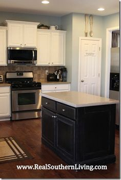 Painted Cabinets one color and island a different one. Like the white cupboards and countertop