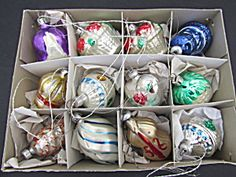 West Germany Boxed Set Glass Ornaments