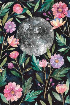 Art And Illustration, Watercolor Illustration, Illustrations, Painting Inspiration, Art Inspo, Art Mural, Wall Art, Watercolor Design, Moon Art