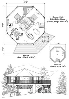 , 2 Bedrooms, 2 Baths, Pedestal Collection by Topsider Homes Round House Plans, Small Modern House Plans, Small Tiny House, Modern House Design, Sims House Plans, Best House Plans, House Floor Plans, Octagon House, Architectural Floor Plans