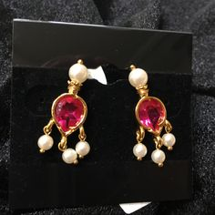Grape drop earrings with Pink stones and Pearls - Maharashtrian Earrings