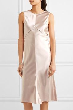 Exclusive Calvin Klein Collection Woman Lamica Tulle-trimmed Silk-satin Dress Blush Size 48 Calvin Klein Collections Online Wide Range Of Online 7o7Tb64