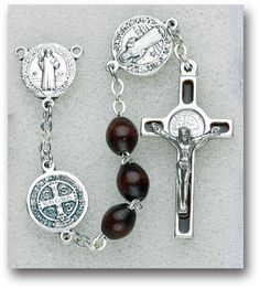 St Benedict Wood Rosary by Hirten | Catholic Shopping .com