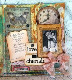 Tim Holtz Layering Stencil Monoprint Vintage Art Journal Page CC3 C34 using Tim Holtz, Ranger, Idea-ology, Sizzix and Stamper's Anonymous products; July 2015