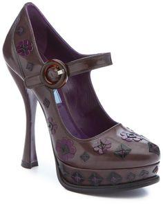 Prada Flower Spazzolato Leather Mary Jane Platform Pump Platform Shoes Heels, High Heel Pumps, Pumps Heels, Black Leather Espadrilles, Leather Pumps, Zapatos Mary Jane, Mary Jane Pumps, Heeled Loafers, Prada Shoes