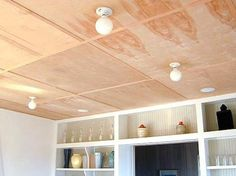 plywood ceiling, cover up that ugly popcorn ceiling or add interest to ceiling. paint it!