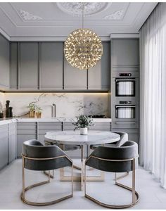 Dream Home Interior Grey kitchen ideas brings an excellent breakthrough idea in designing our kitchen. Grey kitchen color will make our kitchen look expensive and luxury. Modern Kitchen Tables, Modern Grey Kitchen, Grey Kitchen Designs, Modern Kitchen Interiors, Luxury Kitchen Design, Home Decor Kitchen, Interior Design Kitchen, Modern Interior Design, Home Kitchens