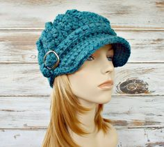 Crochet Hat Blue Womens Hat Blue Hat Blue Newsboy Hat - Oversized Monarch Ribbed Crochet Newsboy Hat - Womens Accessories - Ready To Ship by pixiebell on Etsy