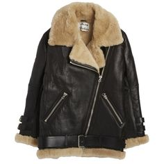 Acne Leather Shearling Jacket (€2.660) ❤ liked on Polyvore featuring outerwear, jackets, coats, coats & jackets, black, shearling leather jackets, real leather jackets, heavy leather jacket, 100 leather jacket and zipper jacket