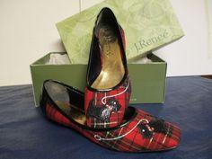 J. Renee Fashionable Flat, Scottie Dog, Fabric & patent, US women's 8.5M #JRenee #Flat #Festive