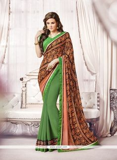 Green Embroidered Work Georgette Designer Saree Model: YOSAR6323