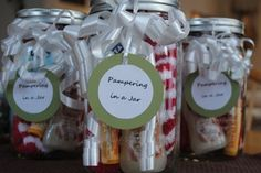 Gift for teachers or office staff: pampering in a jar - warm fuzzy socks, lip balm, hand lotion or bubble bath, and some chocolates