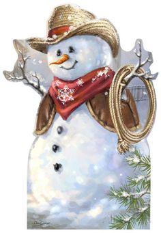 Cowboy Snowman - Dona Gelsinger Art Lifesize Standup Cardboard Cutouts at AllPosters.com