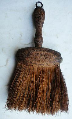 antique victorian AWESOME PRIMITIVE HAND BRUSH mini broom treenware