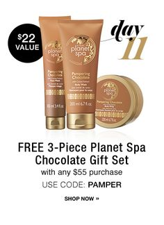 Avon 12 Days of Deals Day 11 -  Use Avon #CouponCode PAMPER and get a 3-Piece Planet Spa Chocolate Gift set with your order of $55 or more at www.deannasbeautyonline.com. Expires midnight 12/10/16. #santa #gifts #holidays