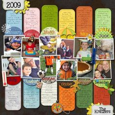 year in review scrapbook inspir, scrapbook layouts, scrapbooks, scrapbook scrapbook, scrapbook photo, card, year, calendar scrapbook, review kid