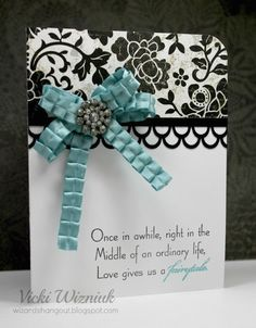 Fabulous Black & White Wedding Card...with a blue bow and bling...Vicki Wizniuk: Wizard's Hangout.