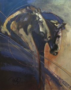 """Saatchi Art Artist: Peggy Judy; Acrylic 2013 Painting """"Two Dancing Stallions"""""""