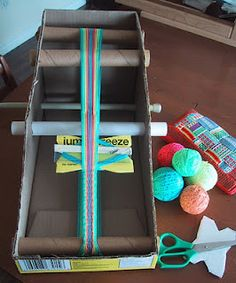 DIY Inkle loom. Wouldn't hold up to the test of time (or tension) but perfect for a kid to learn inkle looming. You could probably even use it to card weave.