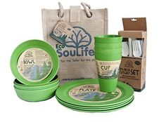 EcoSouLife Biodegradable Eco Dine Set - (4x plates >>> Click image to review more details.