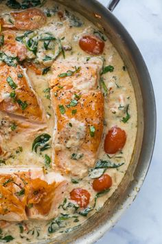 The BEST Pan Seared Creamy Tuscan Salmon Recipe you'll ever make. Crispy tender Salmon served with a creamy (dairy free) tuscan garlic white wine sauce that will make you swoon. Guaranteed to be new dinner favorite! Tuscan Salmon Recipe, Salmon Recipe Pan, Seared Salmon Recipes, Sauce For Salmon, Pan Fried Salmon, Healthy Salmon Recipes, Pan Seared Salmon, Garlic Recipes, Baked Salmon