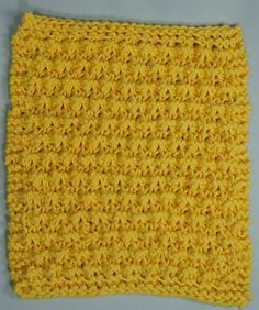 """Scrubby Bubbles Dishcloth - This is so neat!  A dishcloth that """" scrubs"""" the dishes while you wash them! All your friends will want some of these! Make one for yourself and try it!  We love ours, and we make ours in bright colors to make the kitchen come alive with color! A fun pattern in an easy 8 row repeat.  Won't take you long to figure this one out, and it will go so quickly, you will want to make another one.  $1.75"""